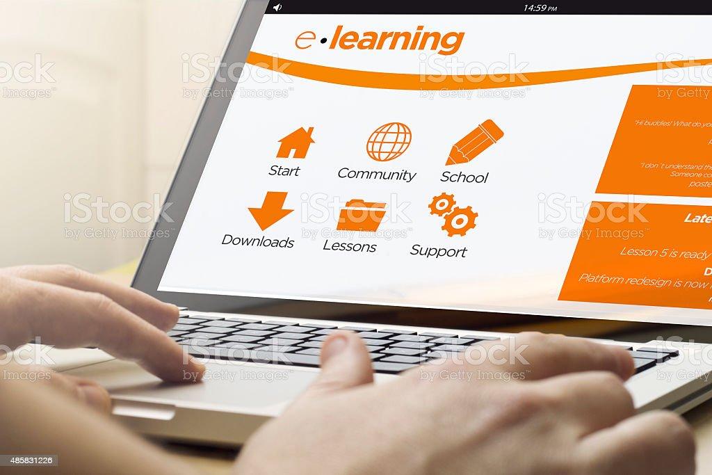home computing e-learning stock photo