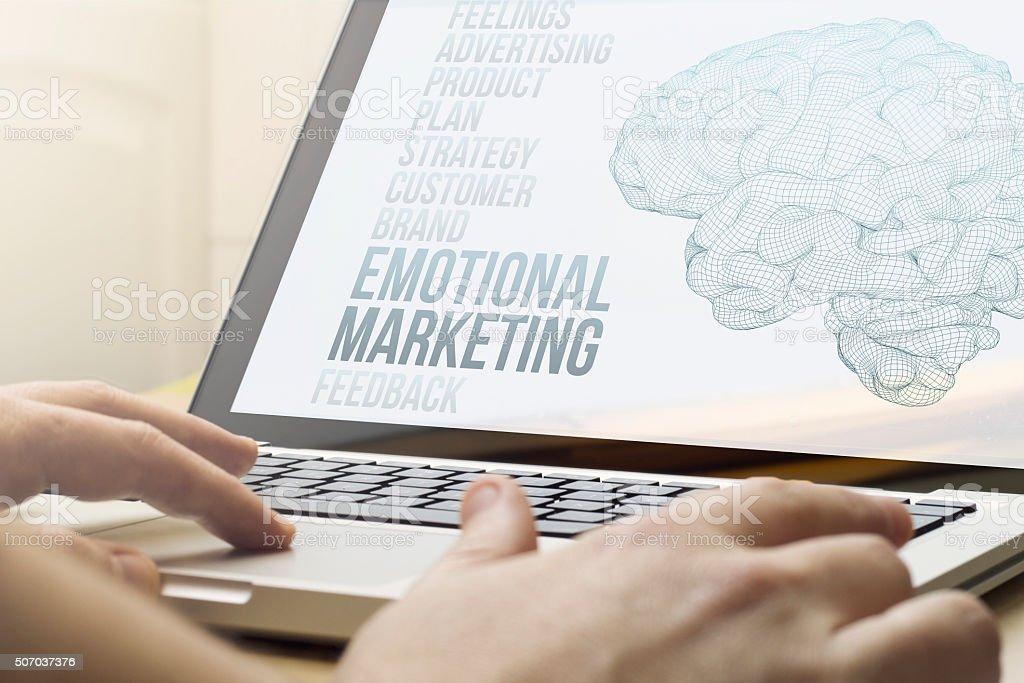 home computing emotional marketing stock photo