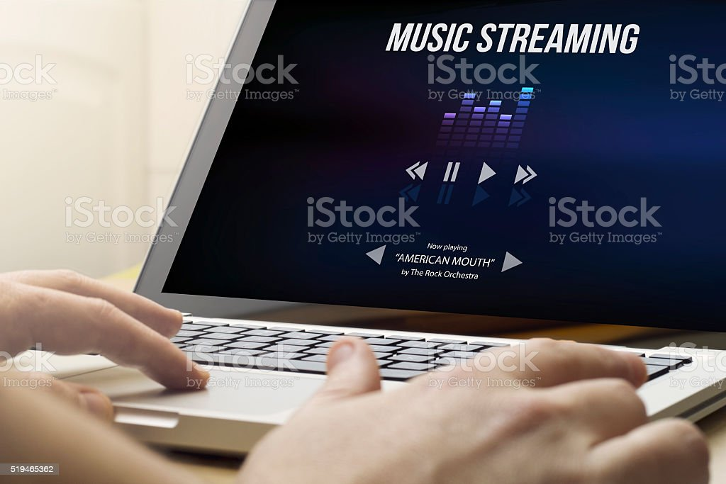 home computing music streaming stock photo