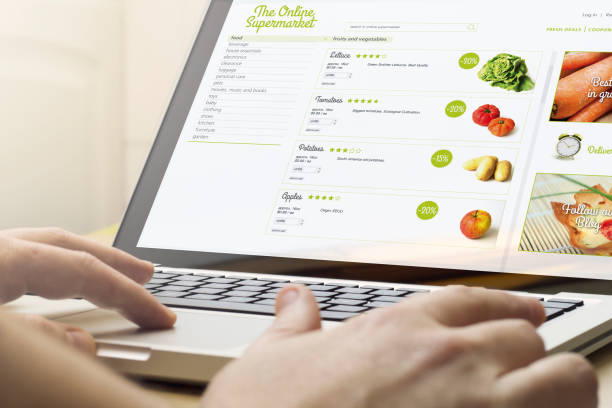 home computing online supermarket stock photo