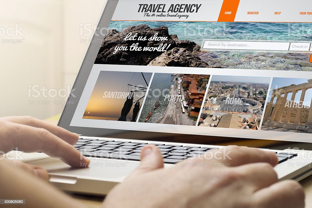 home computing travel agency stok fotoğrafı