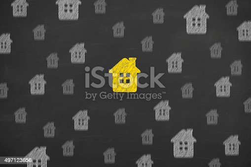 494997002 istock photo Home Concept on Blackboard 497123656