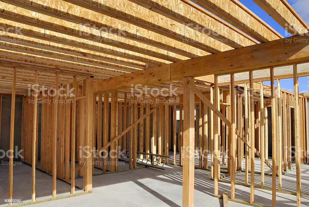 Home Construction Diary: Floor Joists - Clean Site royalty-free stock photo