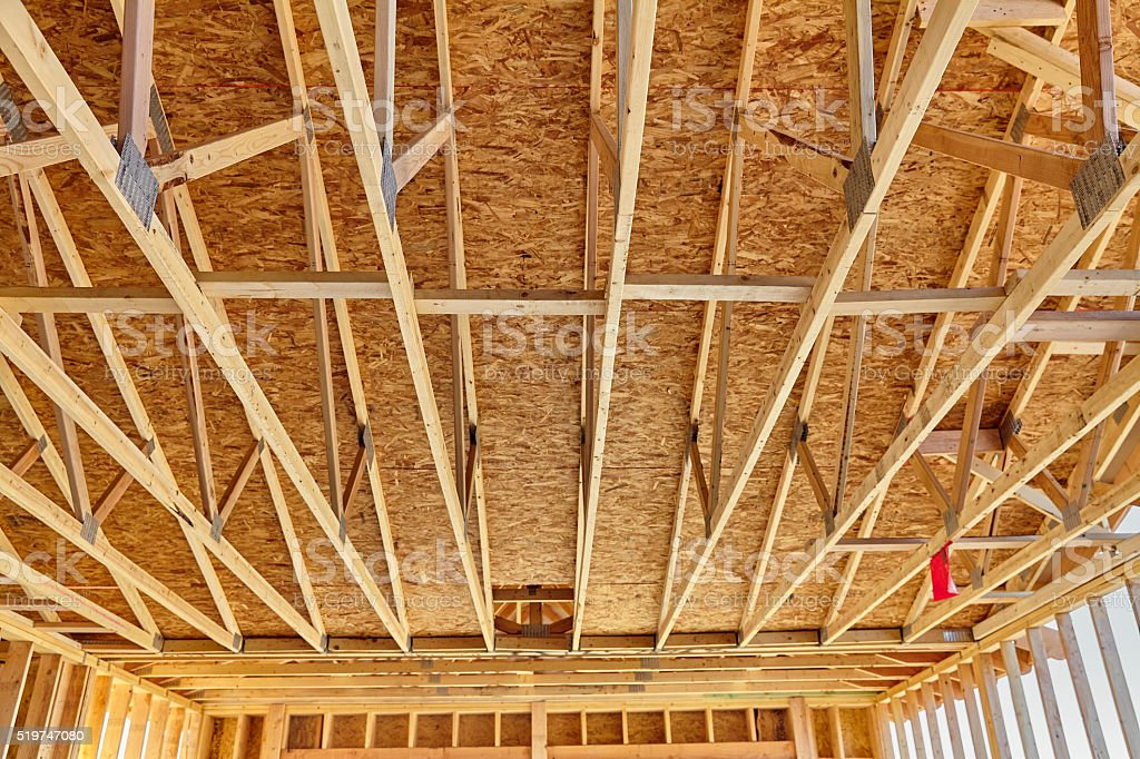 Home Construction Rafter Roof Truss Framing Carpentry Stock Photo ...
