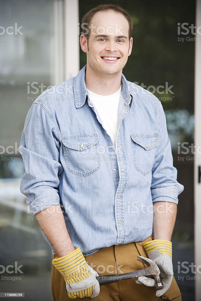 Home Contractor Man Working on Renovation royalty-free stock photo