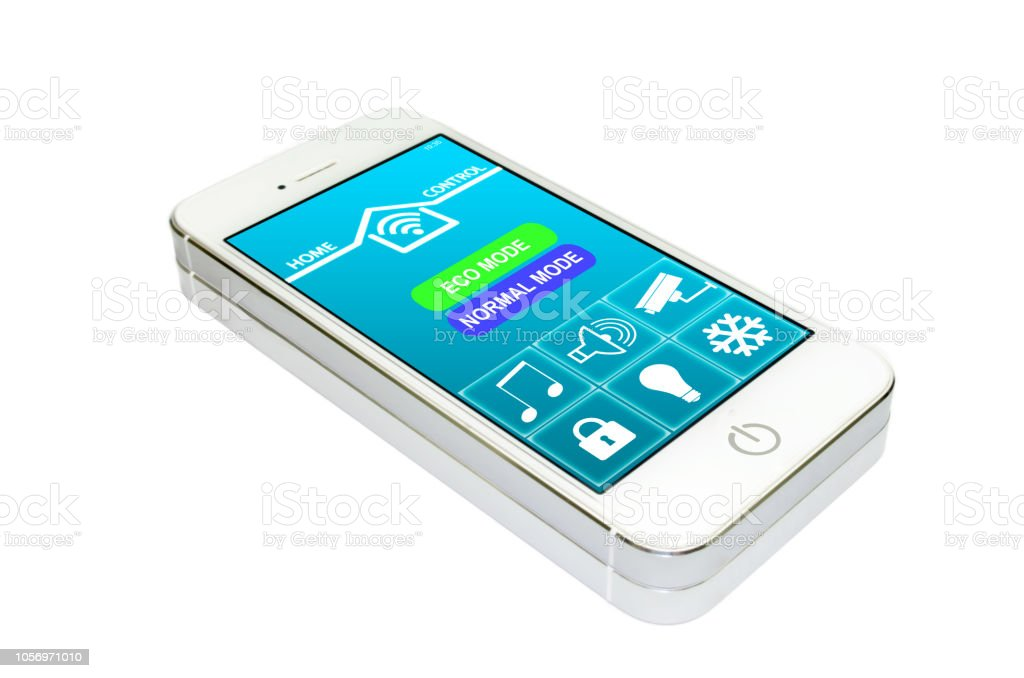 home control application on smart phone screen stock photo