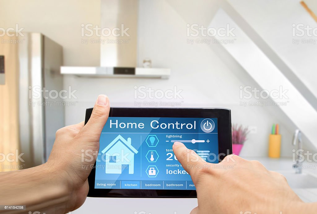 home control device tablet stock photo