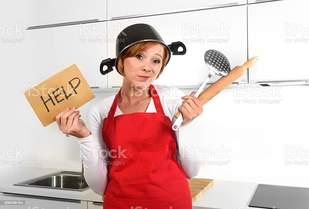 beautiful cook woman confused and frustrated face expression wearing...