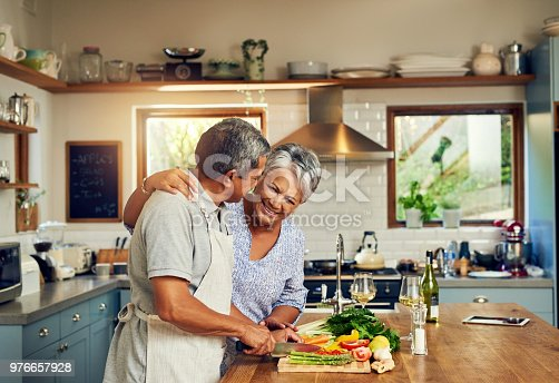Shot of a happy mature couple cooking a meal together at home