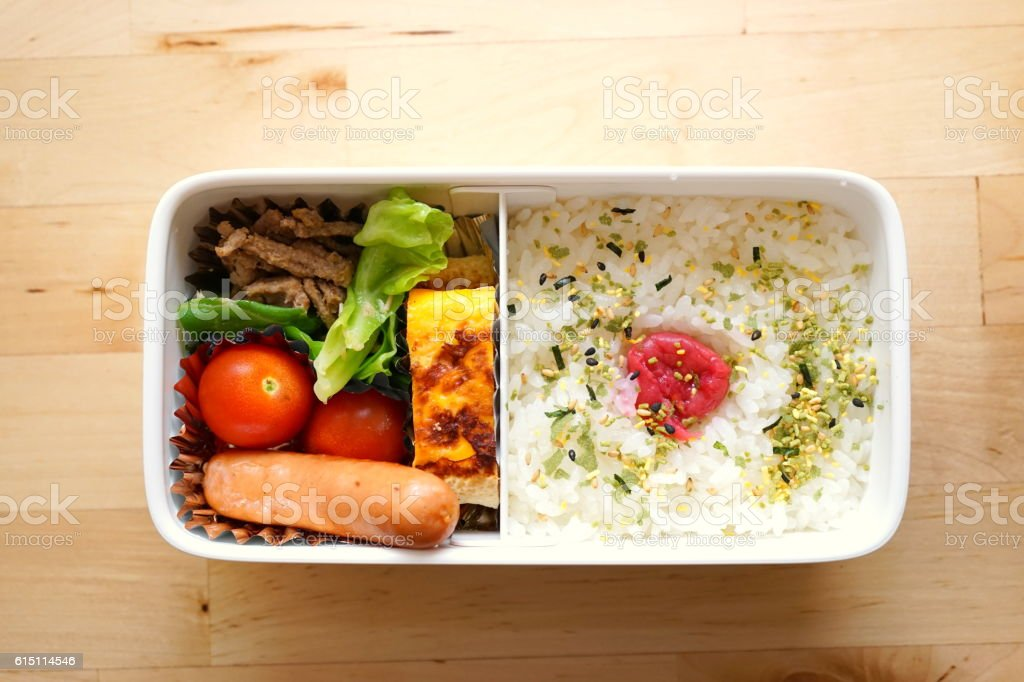 Home cooked healthy Bento lunch box stock photo