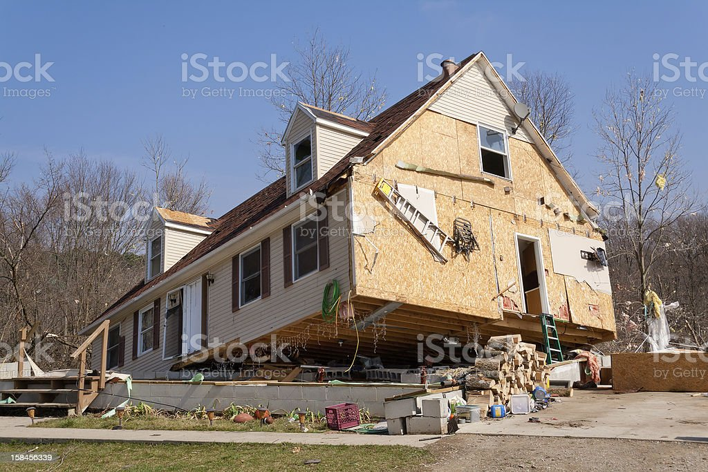 Home Damaged from an F2 Tornado in Lapeer, MI. royalty-free stock photo