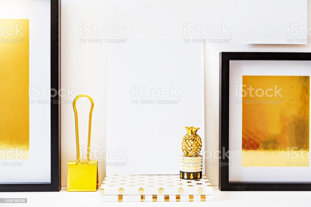 Home Decor Accessories Collection In Tones Of Gold On White Stock Photo Download Image Now Istock