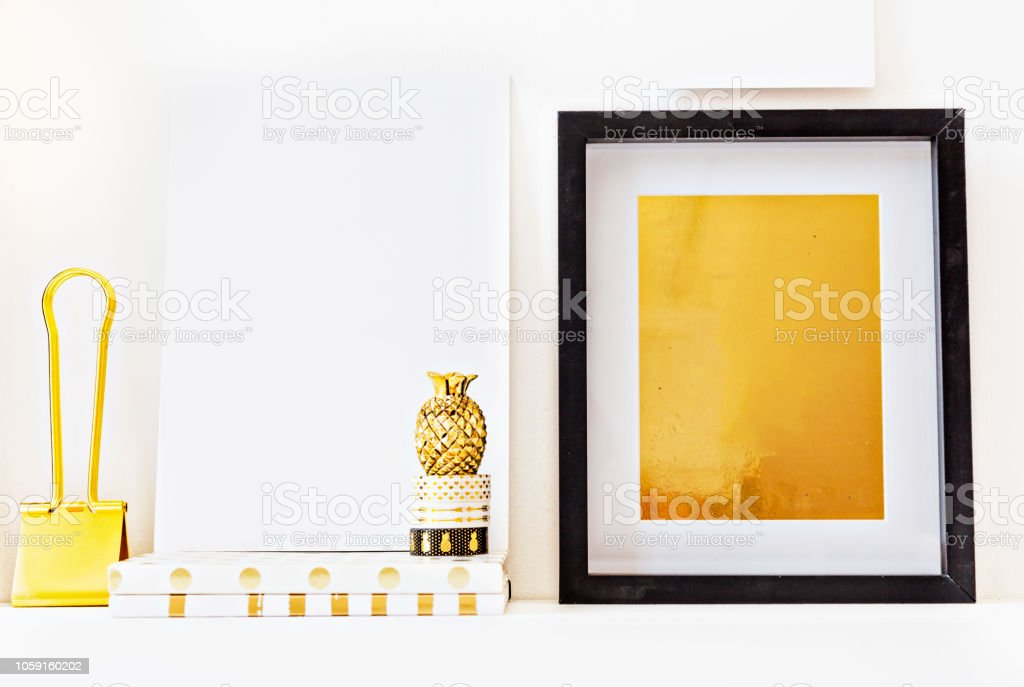 Home Decor Accessories Collection In Tones Of Gold Stock Photo