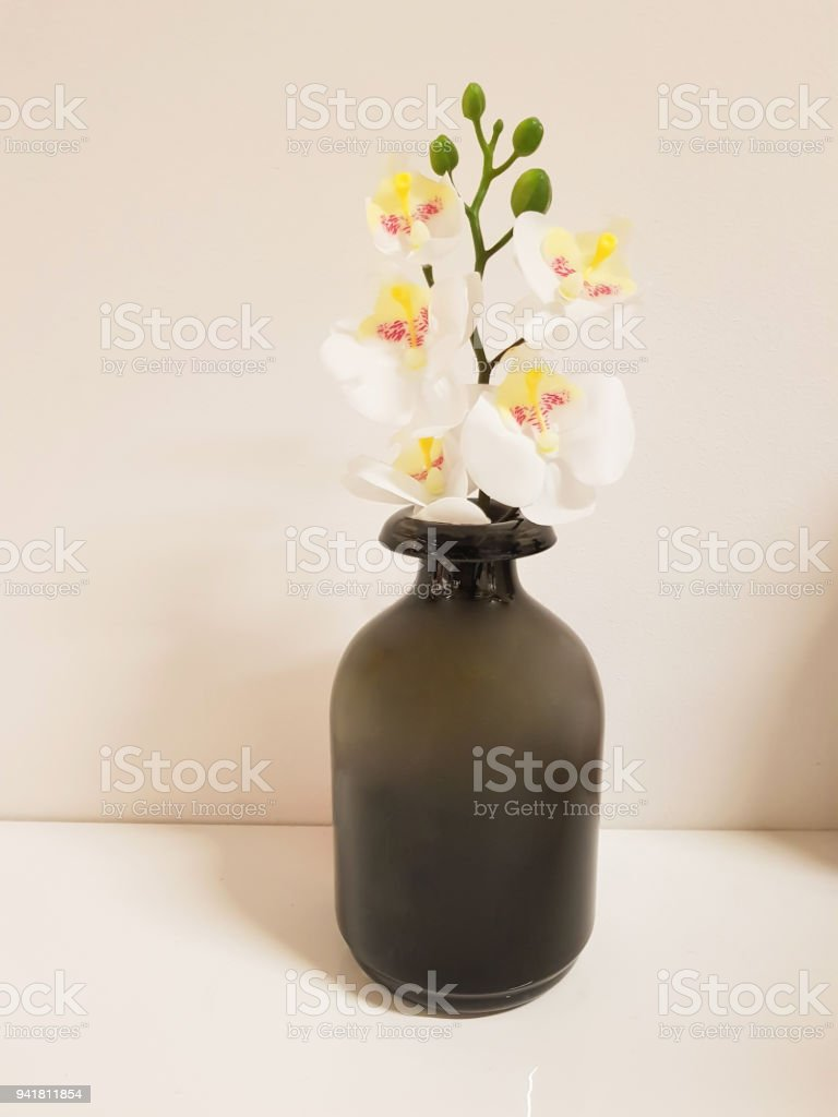 Home Decor Black Or Grey Vase Bottle With Flower White Orchid