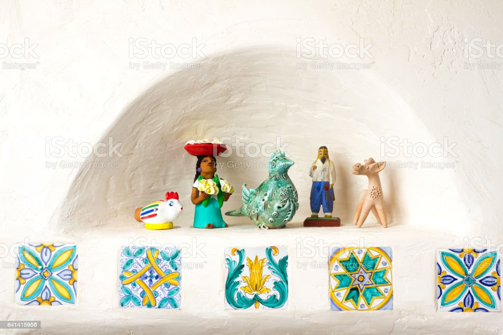 Home Decor Detail: Wall Niche with Tiles and Knicknacks stock photo