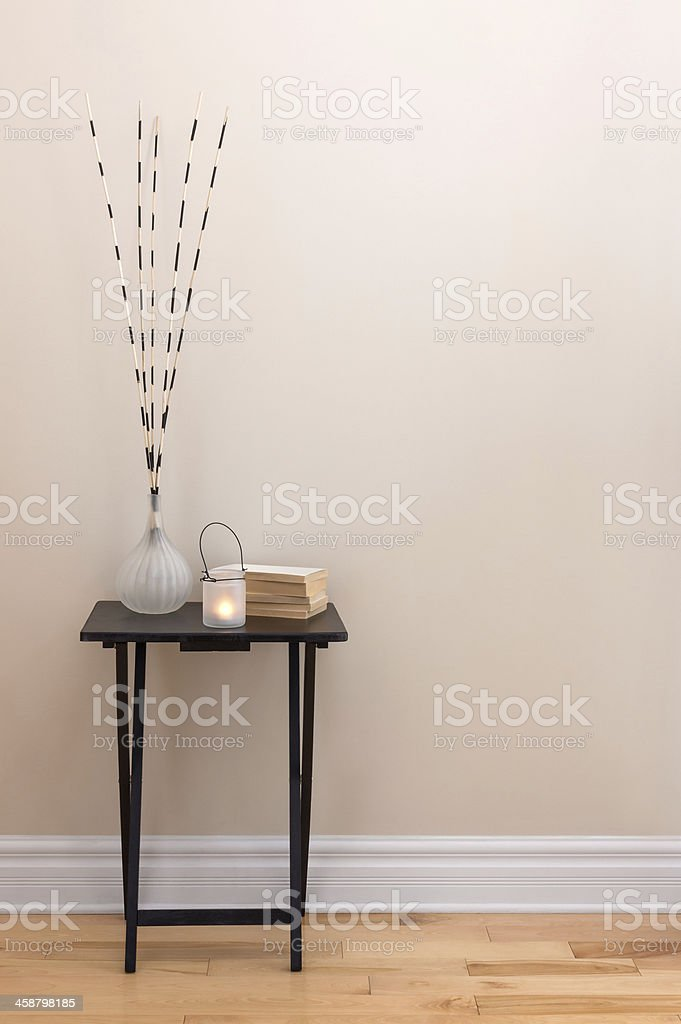 Home decor, little table with decorations stock photo