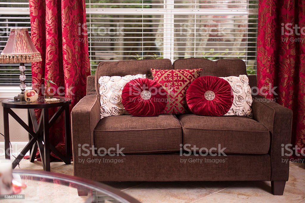 Home Decor Living Room Sofa And Pillows Window Curtains Stock Photo Download Image Now Istock