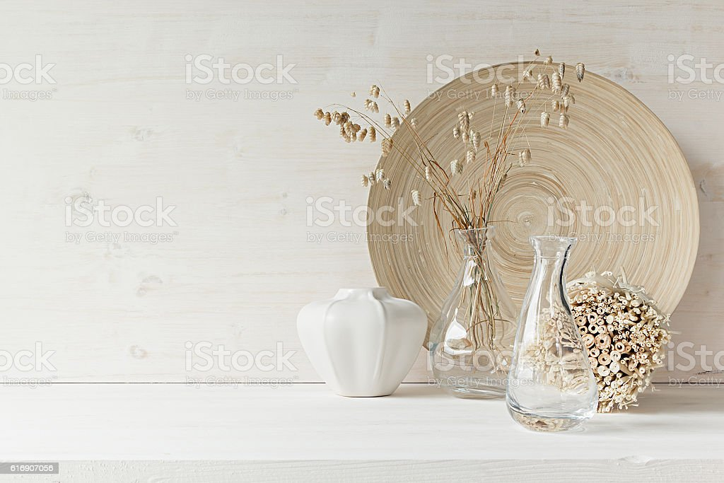 Home decor of  wooden plate on white wood background. stock photo
