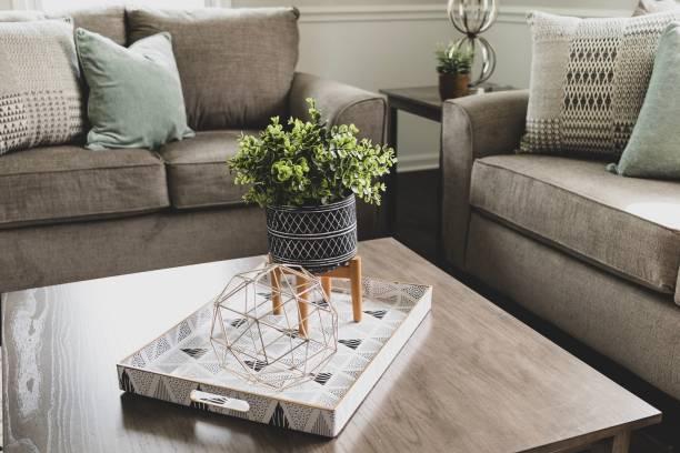 home decor on coffee table in living room - coffee table imagens e fotografias de stock