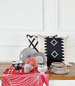 Chic home decoration objects on a table