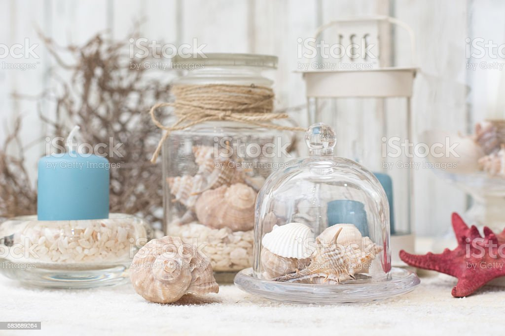 Home Decor With Shells And Candle Stock Photo Download Image Now Istock