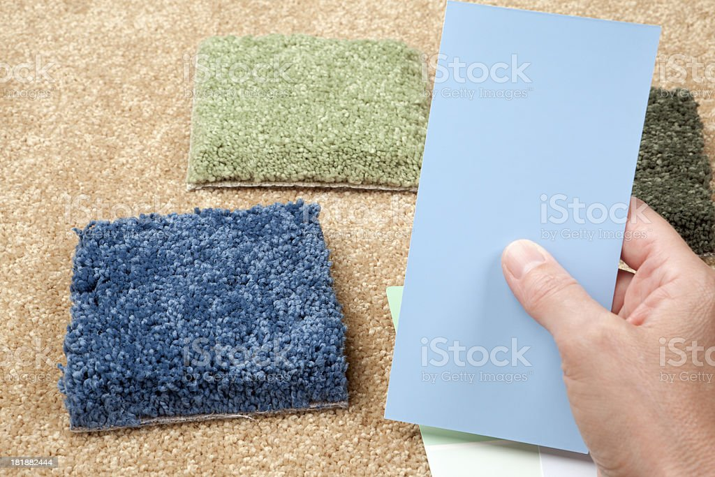 Home Decorating: Choosing Paint and Carpet Samples royalty-free stock photo