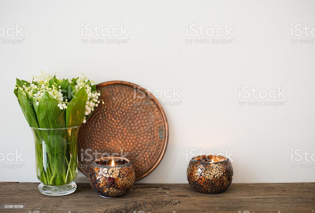 home decoration, lilies of the valley stock photo