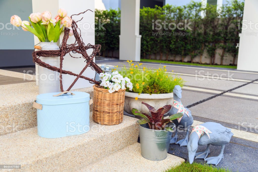 A home decoration with chest and flower. stock photo