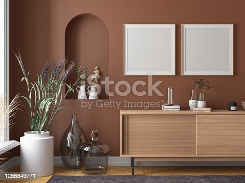 Home Decoration with Picture Frames and Console. 3d render