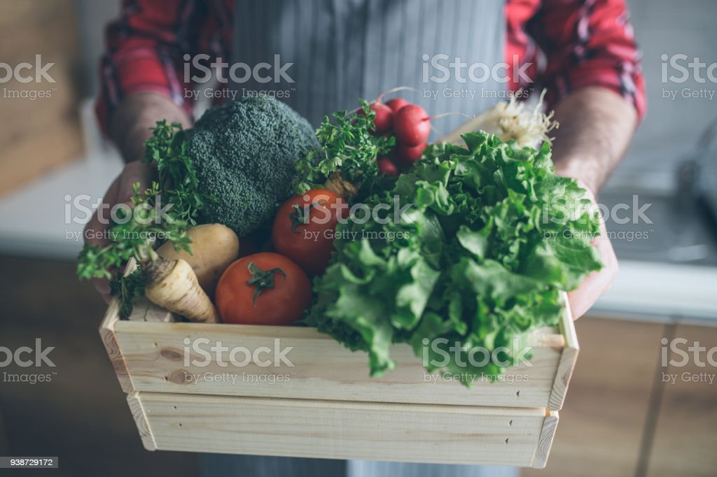 Home delivery of fresh vegetables from the market stock photo