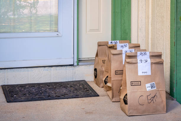 Home delivery of groceries from Whole Food Market stock photo