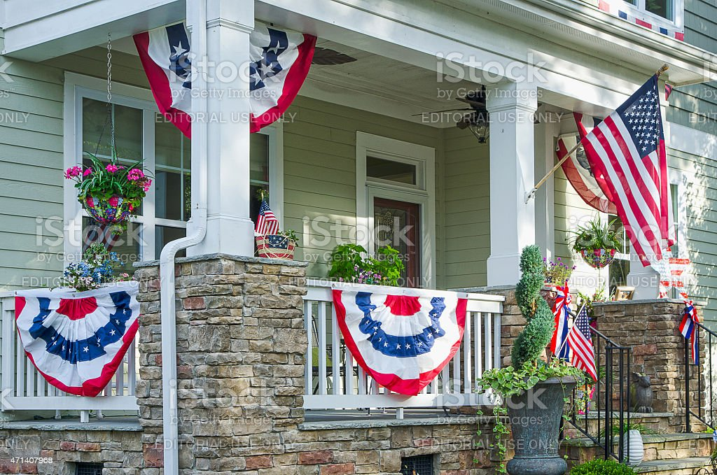 Home Deocorated for the Fourth of July stock photo