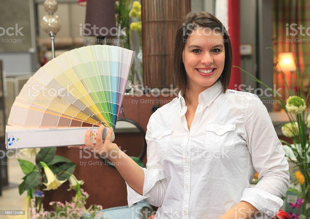 Home Design Shop - Saleswoman Color royalty-free stock photo