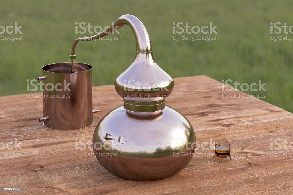 Home distilling still pot stock photo