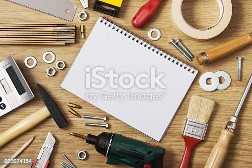 istock Home DIY and blank notebook 623674154