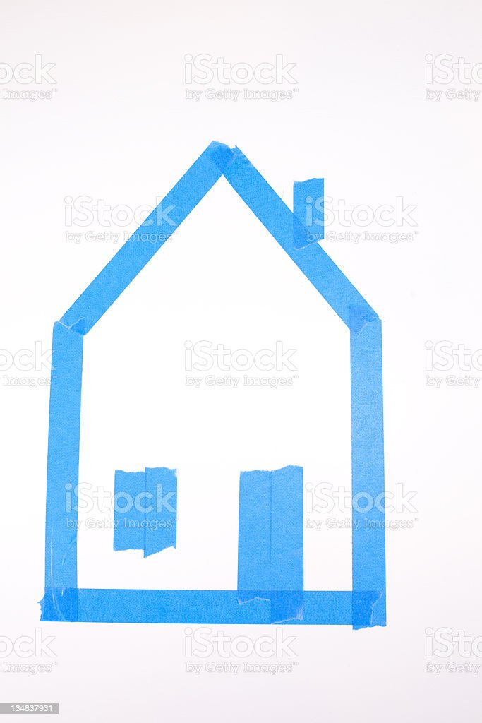 Home 'drawing' using blue painter's tape royalty-free stock photo