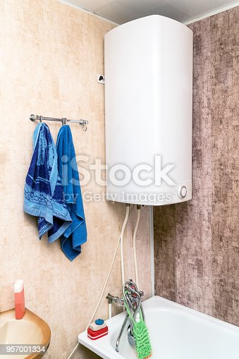 istock Home electric or gas water heater in the bathroom 957001334