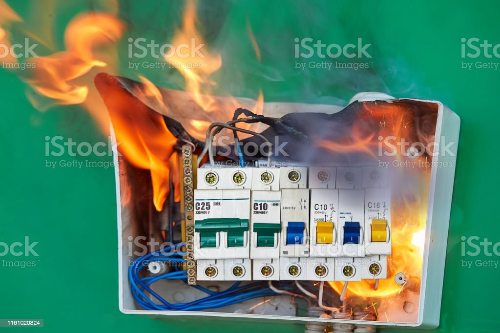 Home Electrical Fire Started In Electric Fuse Box Stock Photo - Download  Image Now - iStockiStock