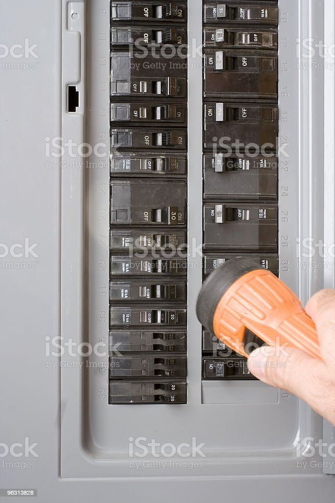 Home electricity power outage breaker box stock photo