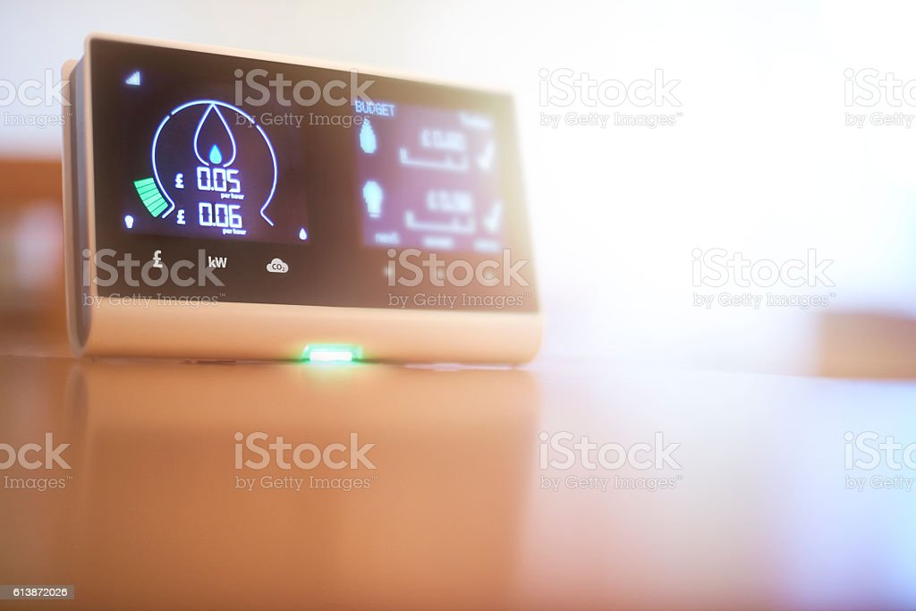 Home energy smart meter stock photo