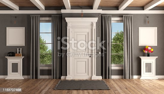 White and gray home entrance of a classic villa with closed front door and two windows - 3d rendering the room does not exist in reality, Property model is not necessary