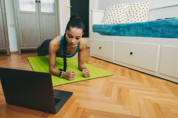 Home exercise - foto stock