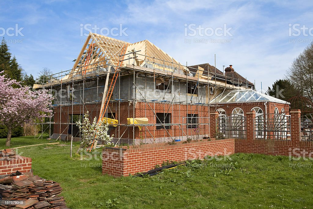 Home Extension Construction Site royalty-free stock photo
