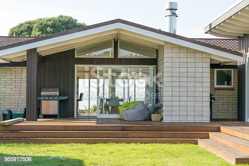 Front view of modern beach house exterior in New Zealand