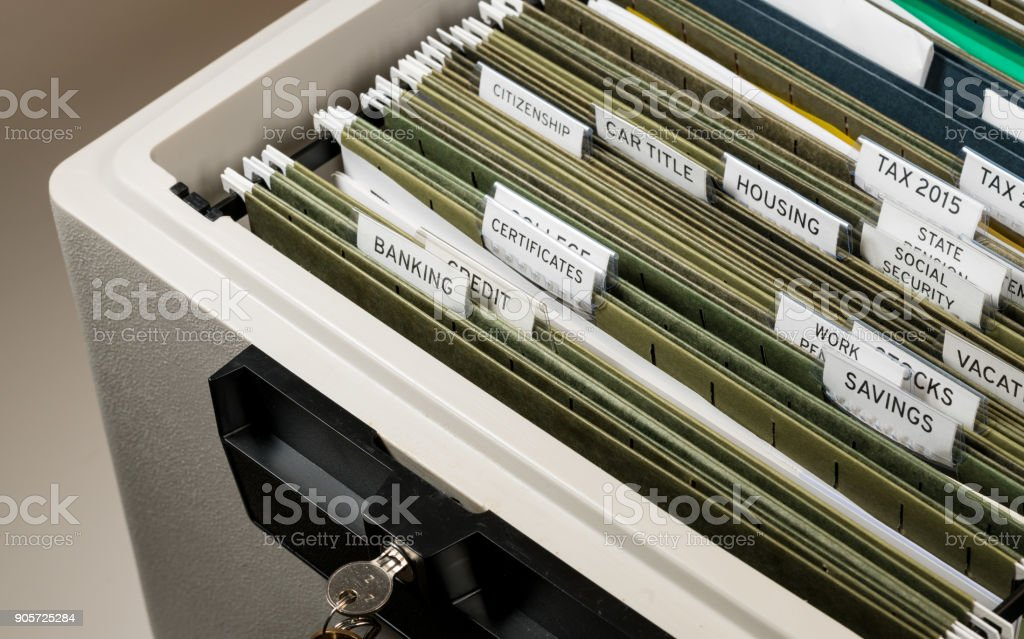 Home filing system for Social Security organized in folders stock photo
