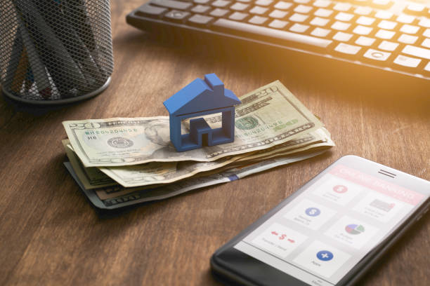 Home Finance Taxes and Smartphone Banking stock photo