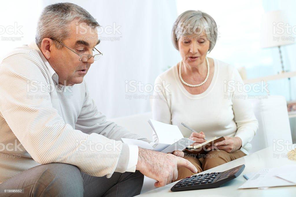 Home finances planning stock photo