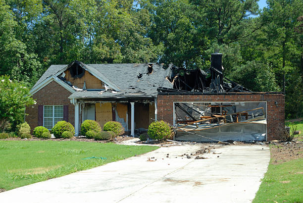 home fire damage - damaged stock photos and pictures