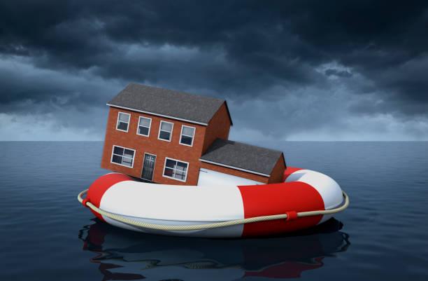 hem översvämning försäkring - livbåt bildbanksfoton och bilder
