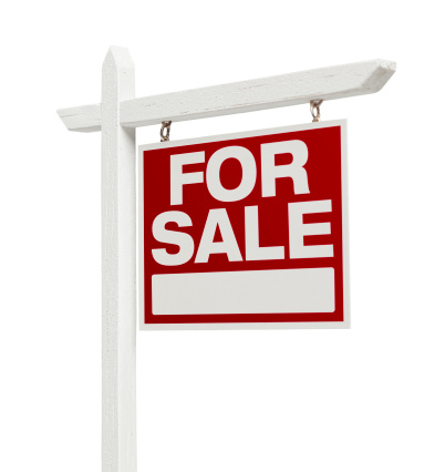 Right Facing Isolated on White Home For Sale Real Estate Sign with Clipping Path.